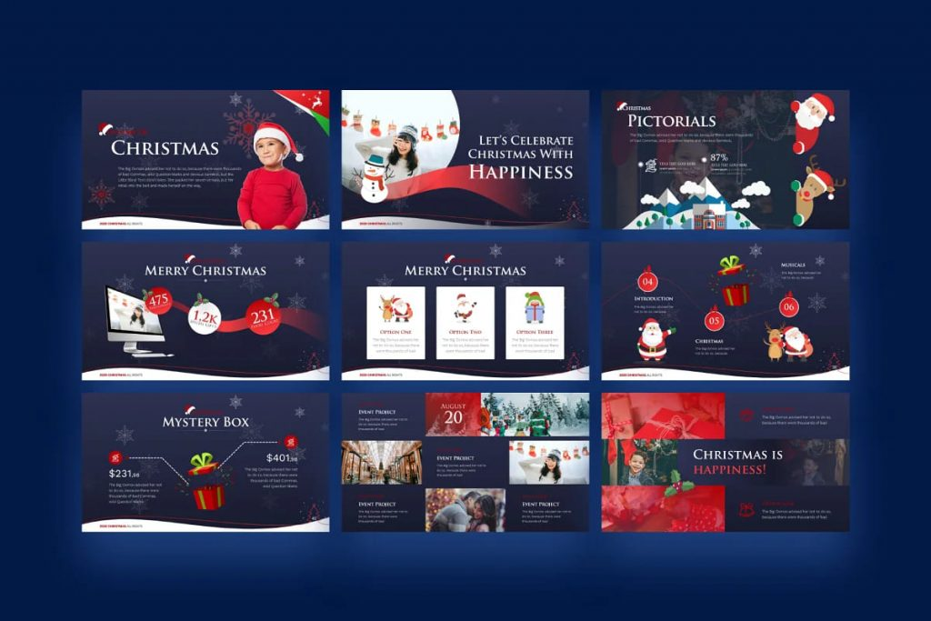 Winter Christmas PowerPoint Template on a dark background.