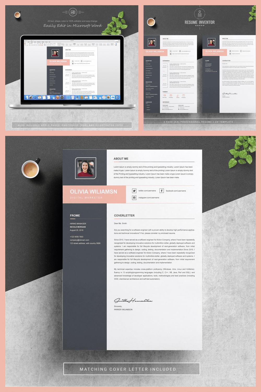 Resume Word - MasterBundles - Pinterest Collage Image.
