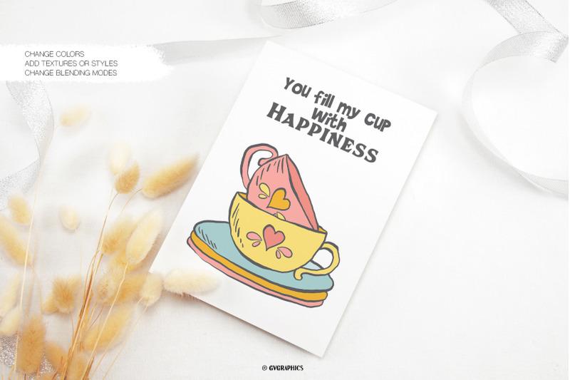 Cute postcard with ceramic bright cups.