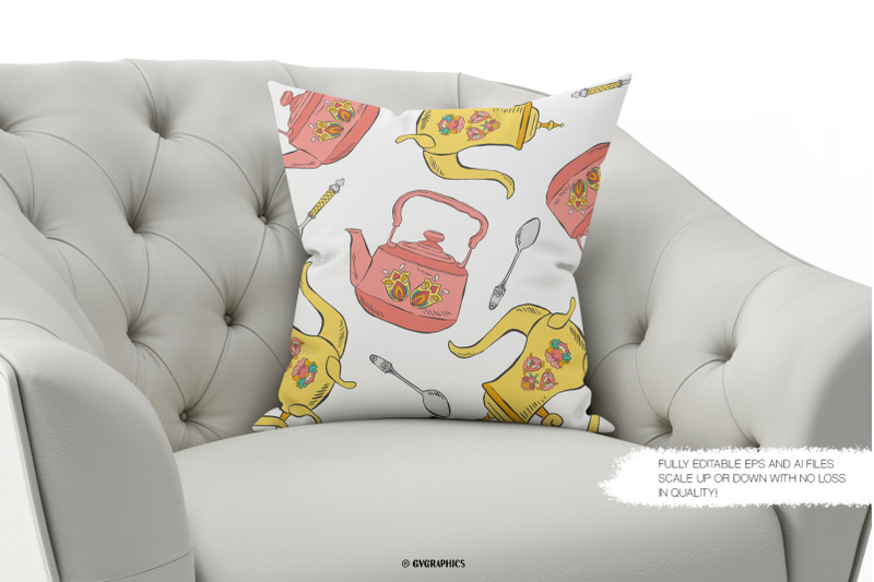 Decorative white pillow with bright teapots.