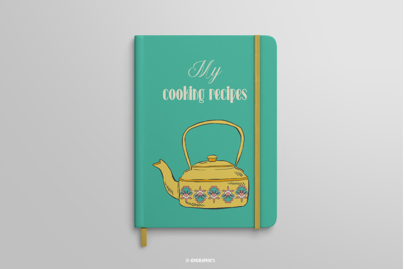 Turquoise notebook with a yellow saucepan.
