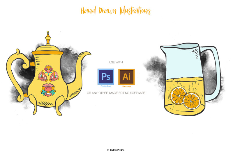 This template has a large number of different teapots and jugs.