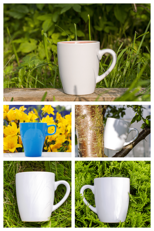 Coffee Mug Mockup Bundle PSD, JPEG - MasterBundles - Pinterest Collage Image.