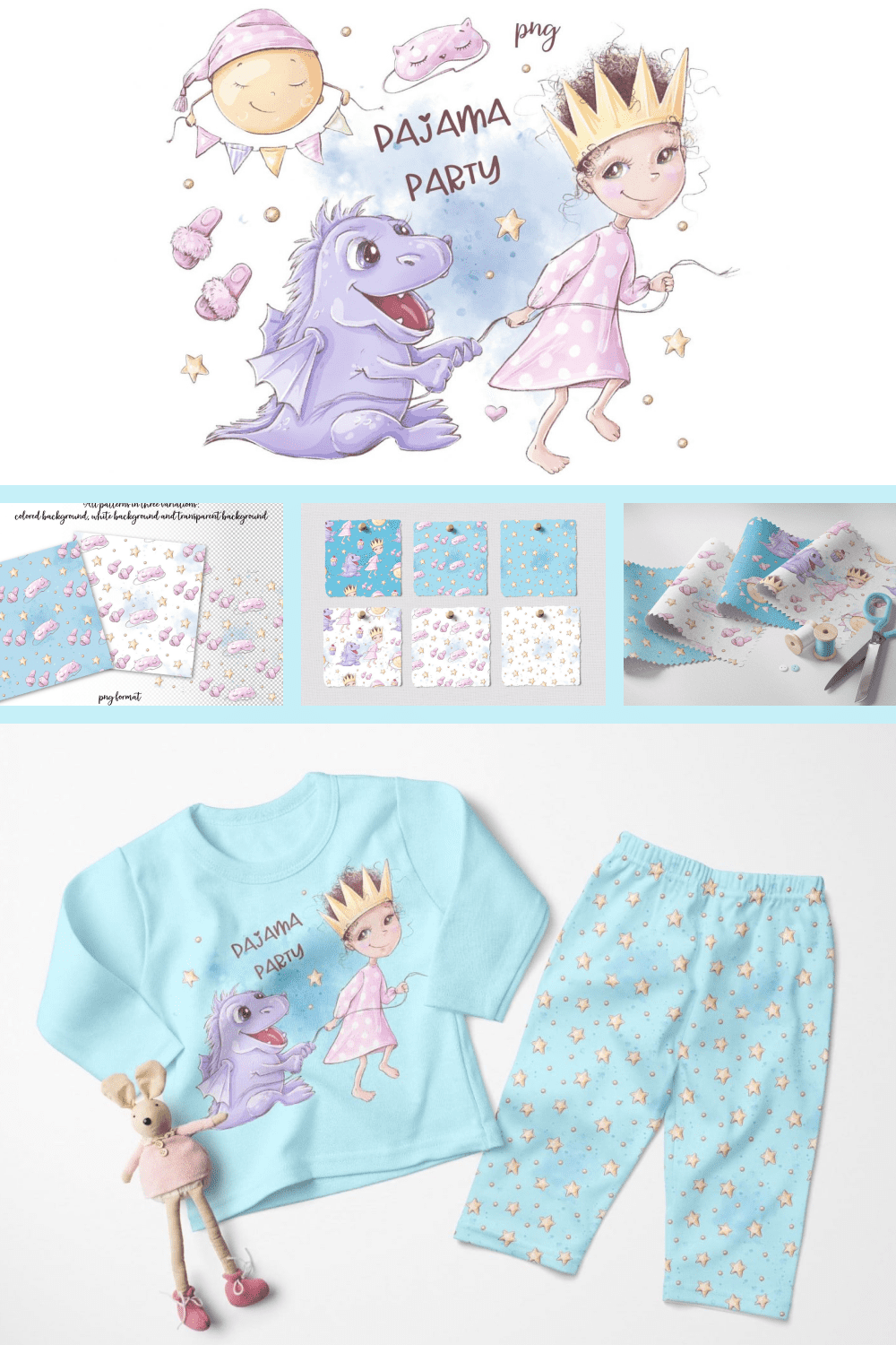 Pajama Party Clipart and Seamless - MasterBundles - Pinterest Collage Image.