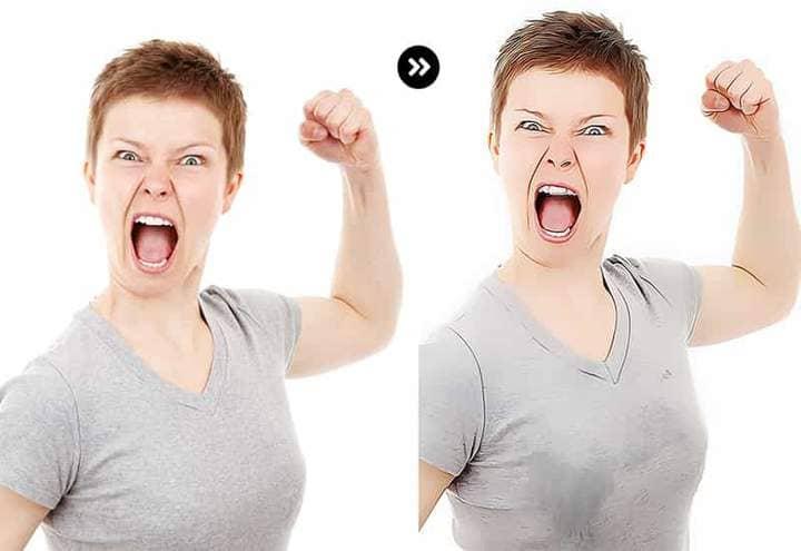 Woman screams The Oil Canvas Photoshop.