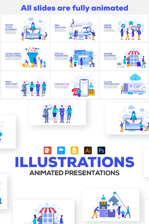 20 Flat Illustrations Animated Presentation - MasterBundles - Pinterest Collage Image.