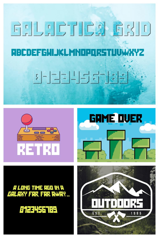 Grid Font: Galactica Futuristic Gaming Font - MasterBundles - Pinterest Collage Image.