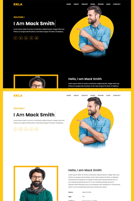 Ekla Personal Portfolio HTML Template - MasterBundles - Pinterest Collage Image.