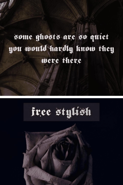 Free Stylish Gothic Font - MasterBundles - Pinterest Collage Image.