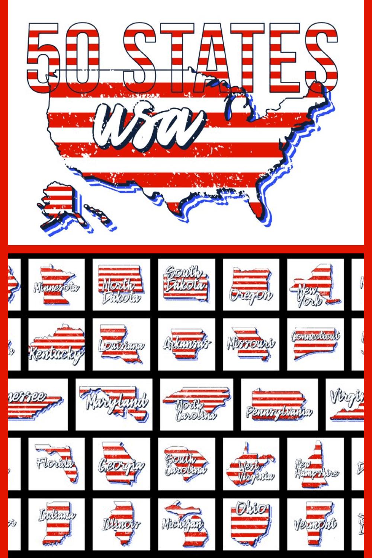 Set of US 50 Grunge States Map - MasterBundles - Pinterest Collage Image.