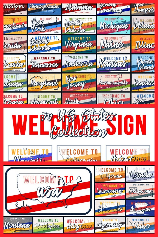 Welcome to 50 US States Set - MasterBundles - Pinterest Collage Image.