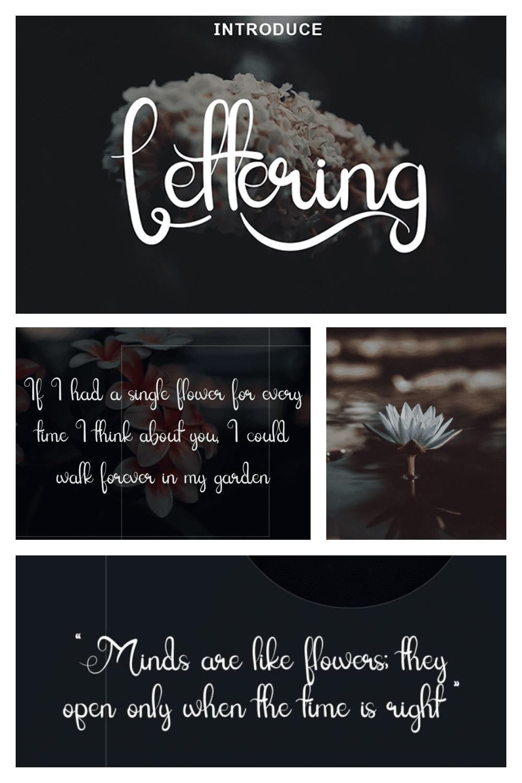 Free Lovely Lettering Font - MasterBundles - Pinterest Collage Image.