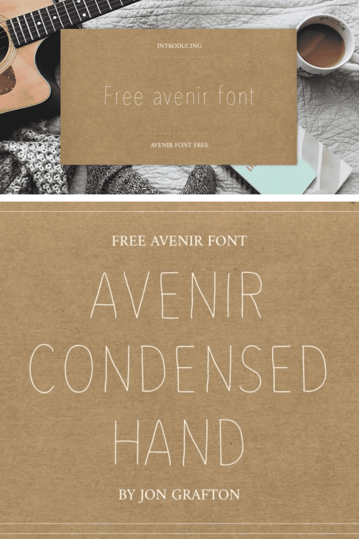 Free Avenir Font - MasterBundles - Pinterest Collage Image.
