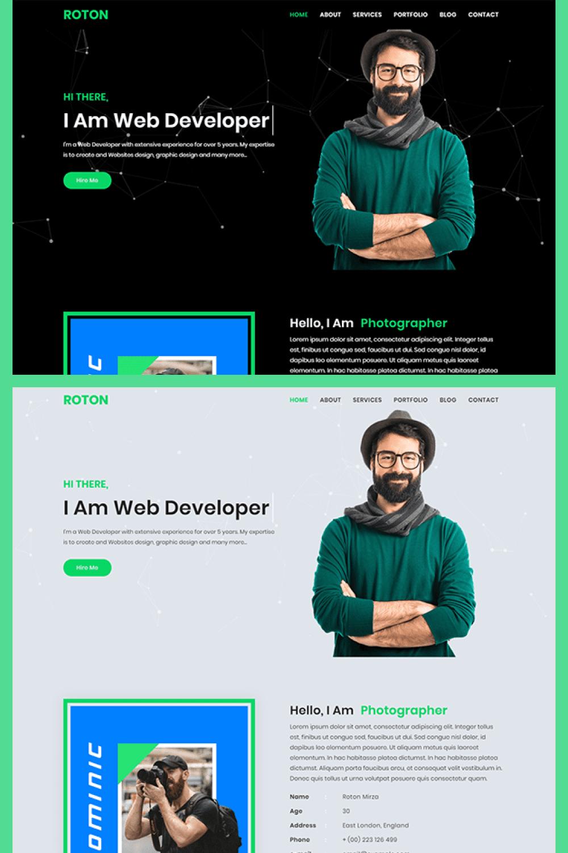 Roton Personal Portfolio HTML5 Template - MasterBundles - Pinterest Collage Image.