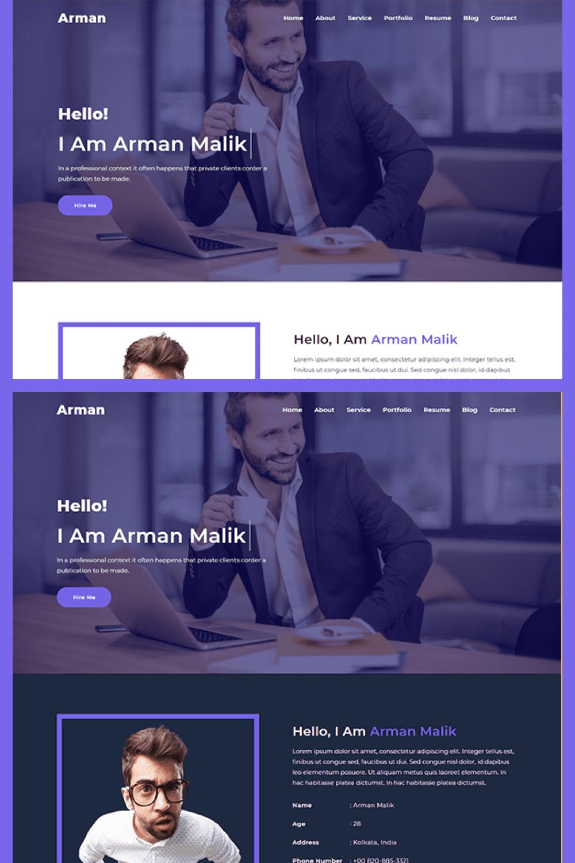 Free Personal Portfolio HTML Template - MasterBundles - Pinterest Collage Image.