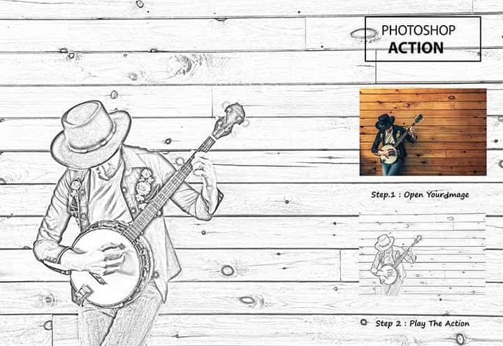 Man Plays Banjo Sketch Effect Photoshop. Before and after photos step by step.
