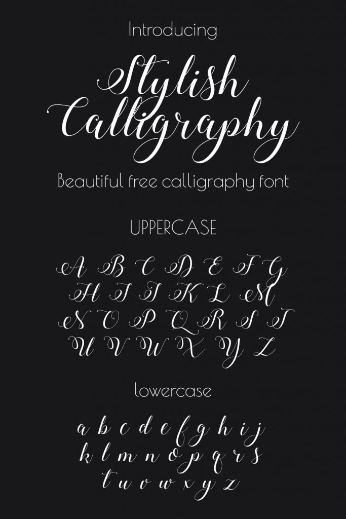 Beautiful free calligraphy font Alphabet example preview for Pinterest.