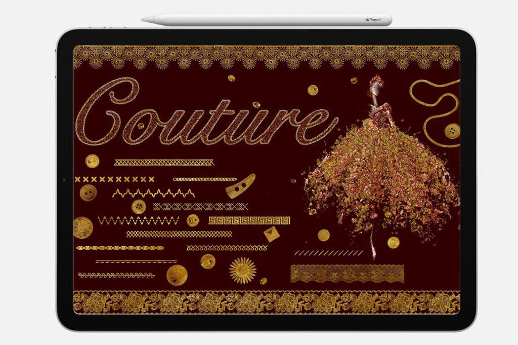 Couture Gold Digital Painting Assets - Portrait.