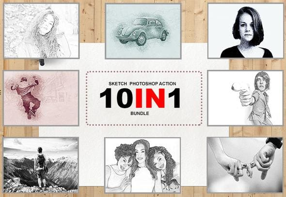 The 10-In-1 Sketch Effect Photoshop Actions Bundle.