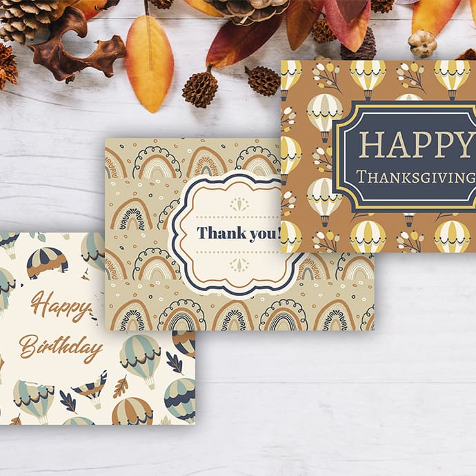 Three Fall Greeting Cards for creativity.