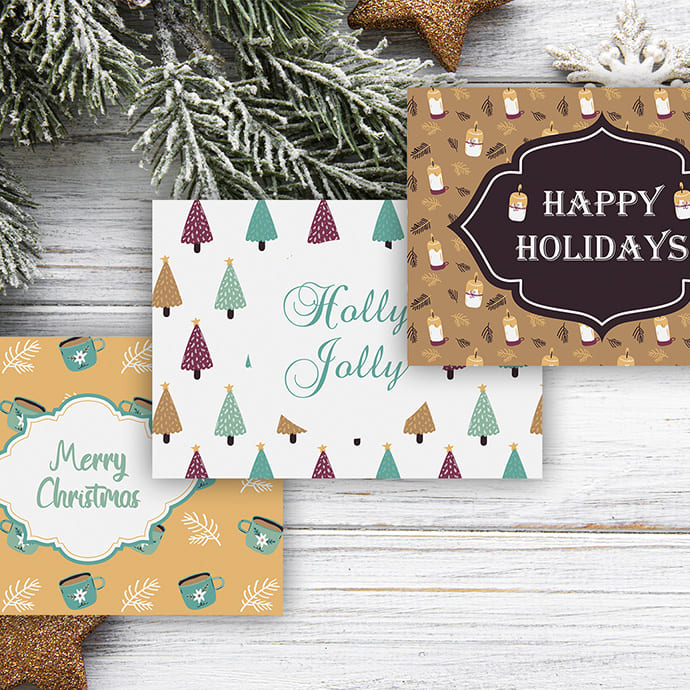 Three cards in the same Christmas theme, but in different styles.