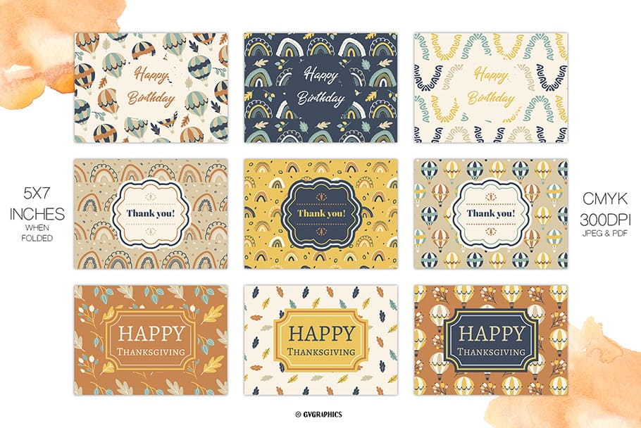 9 examples of Fall Greeting Cards.