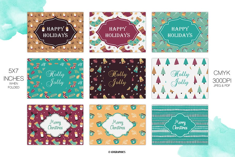 A set of different cards for a merry and beautiful celebration of Christmas.