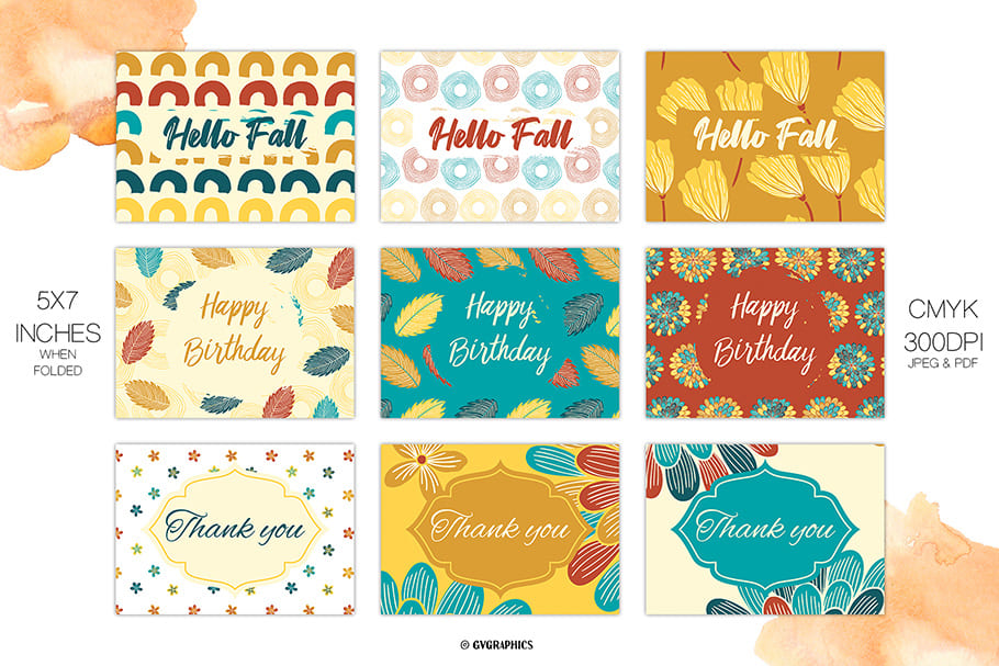 The creative perception of autumn is depicted on the postcards.