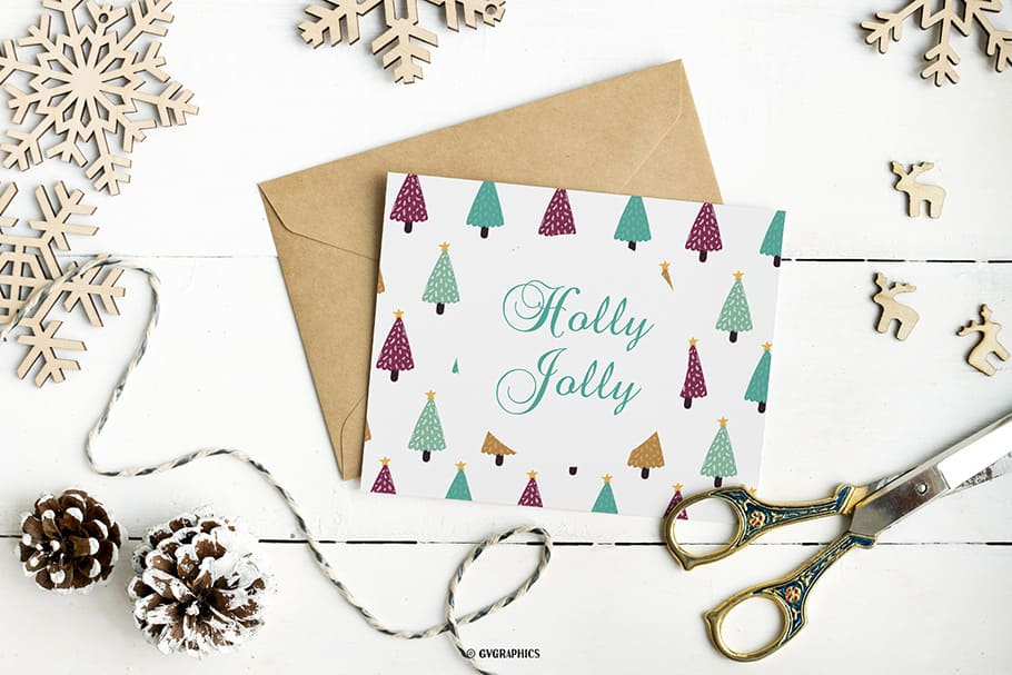 White card with lonely multi-colored trees.