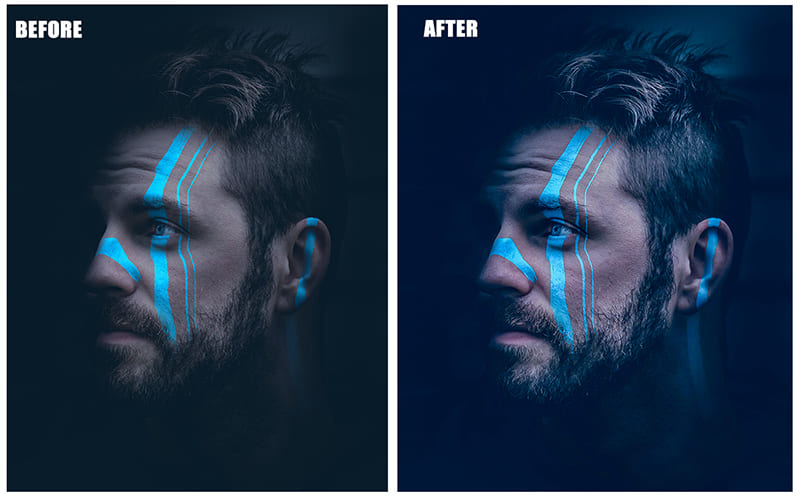 A bristly man with a blue line on his face.