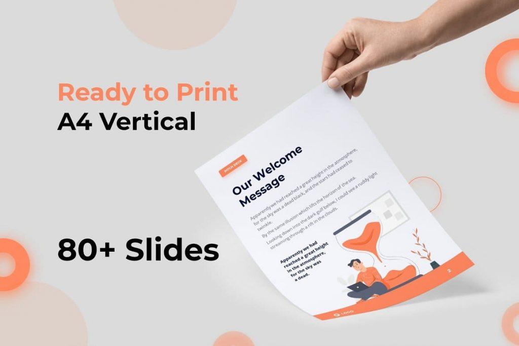 Ready for A4 printing vertical Light Theme Pitch Deck & Presentation V3.0.