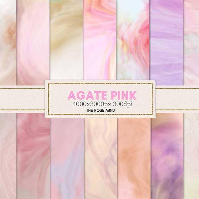 Agata pink: 18 digital paper.