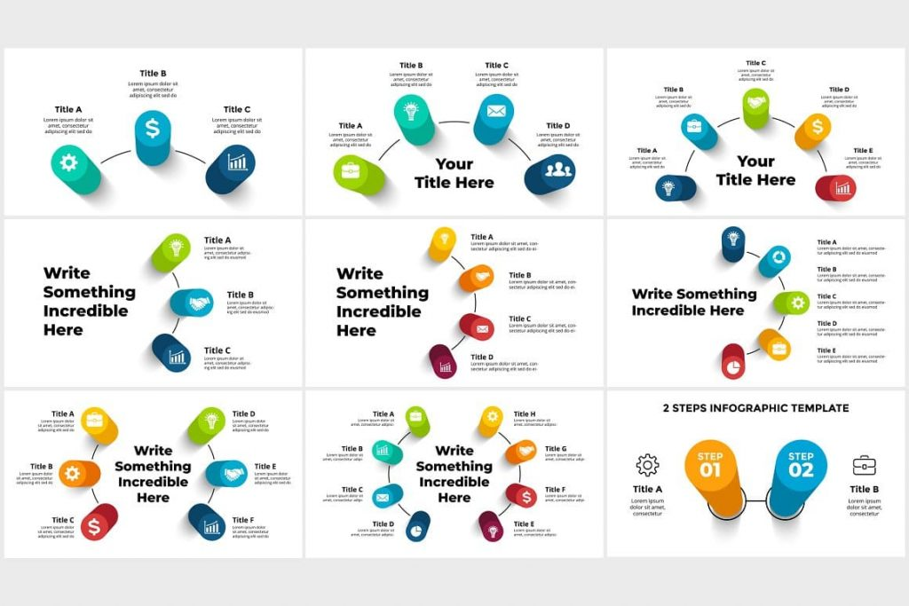 Objects have 3D Infographics vector shapes. PowerPoint, Canva.