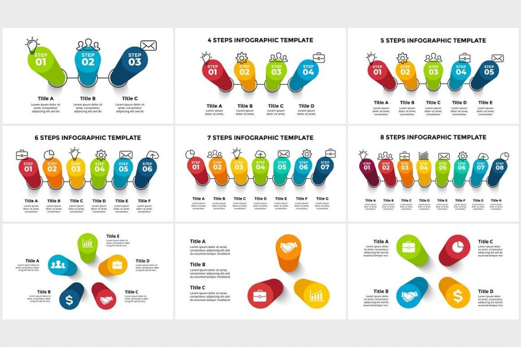 Objects are fully editable 3D Infographics. PowerPoint, Canva.