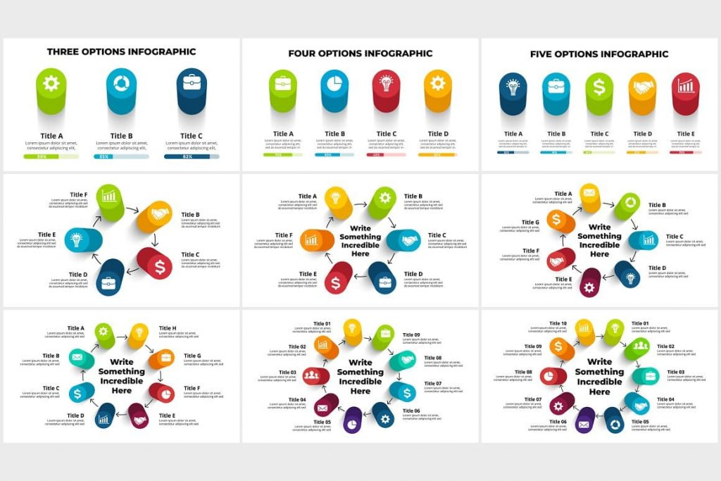 3D Infographics graphics. PowerPoint, Canva.