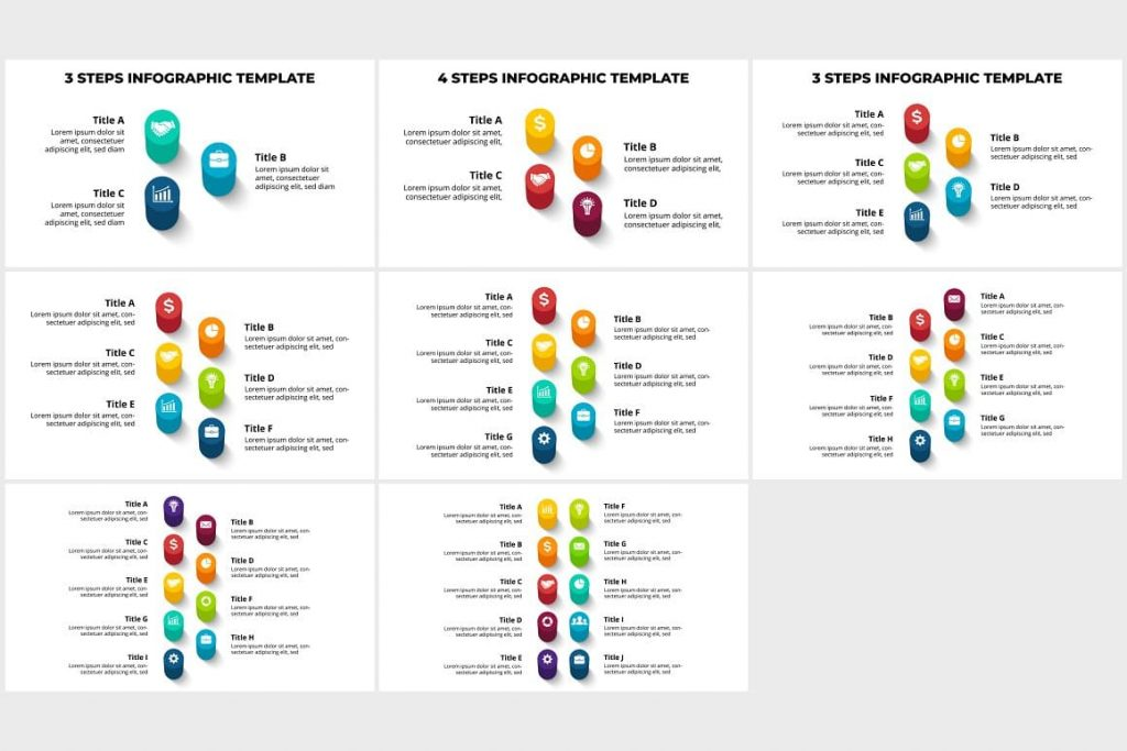 Step-by-step 3D Infographics Templates. PowerPoint, Canva.