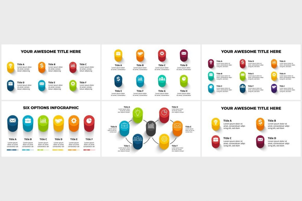 Realistic 3D Infographics Set. PowerPoint, Canva.