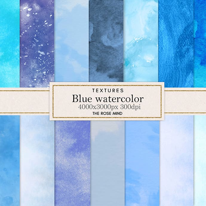 Blue watercolor backgrounds collection.