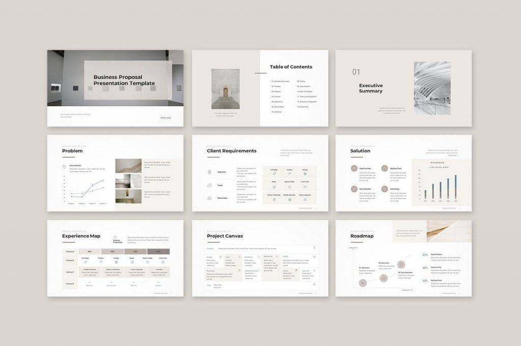 Business Proposal Template presentation slides.