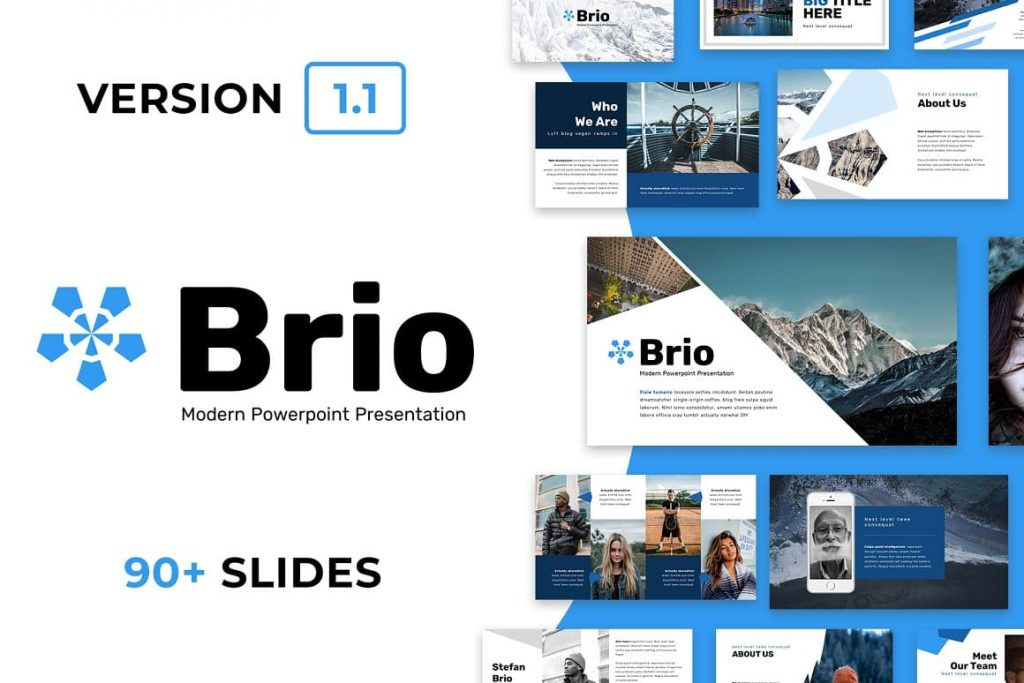 Cover Brio Business Powerpoint Template.