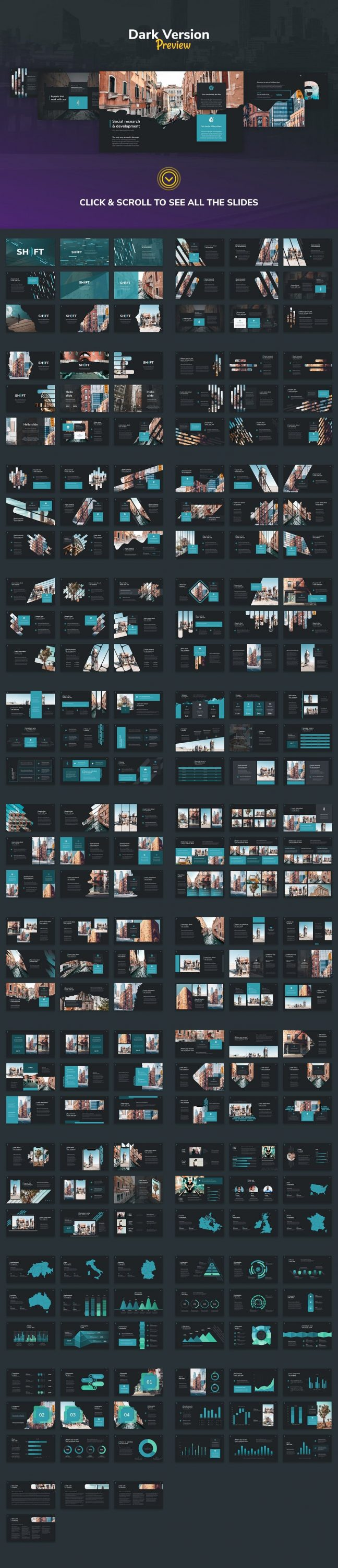 A preview of the dark version of the Shift Modern Powerpoint Template.