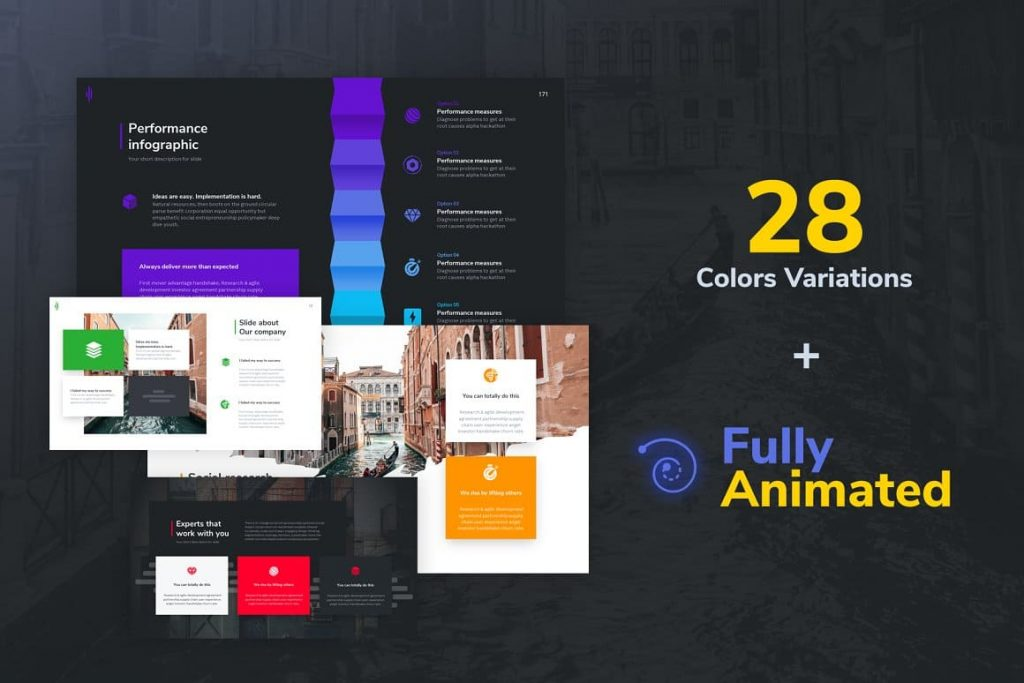 28 Color Options Shift Modern Powerpoint Template.