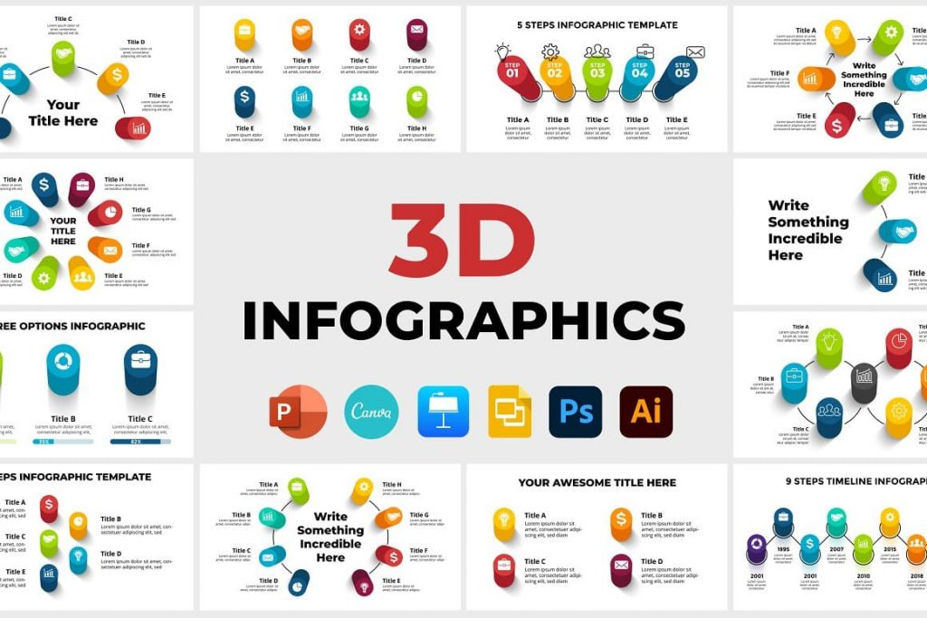 3D Infographics cover. PowerPoint, Canva.