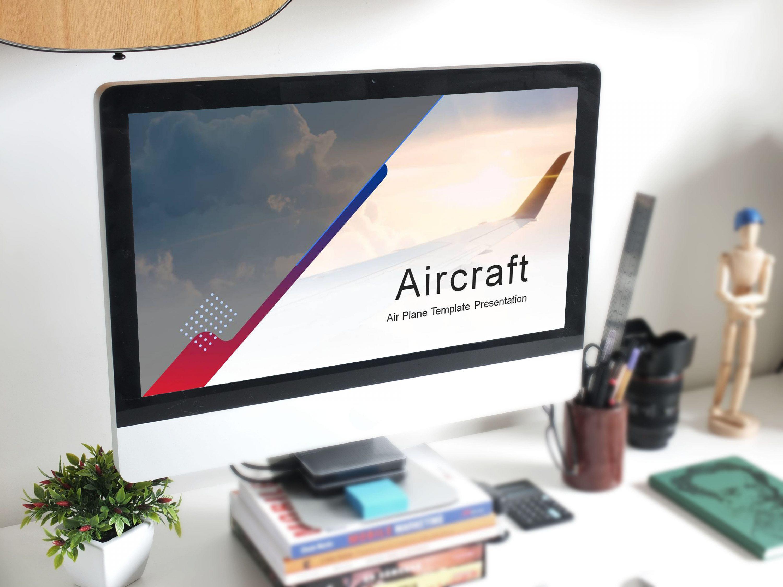Aircraft Presentation: Powerpoint, Keynote, Google Slides MasterBundles desсtop preview mockup image.