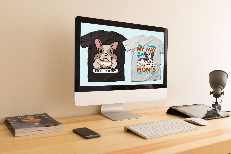 Trendy 20 Bulldog Quotes T-shirt Designs Bundle by MasterBundles Desktop preview mockup image.