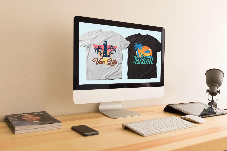 Summer Quotes T-shirt Designs Bundle by MasterBundles Desktop preview mockup image.