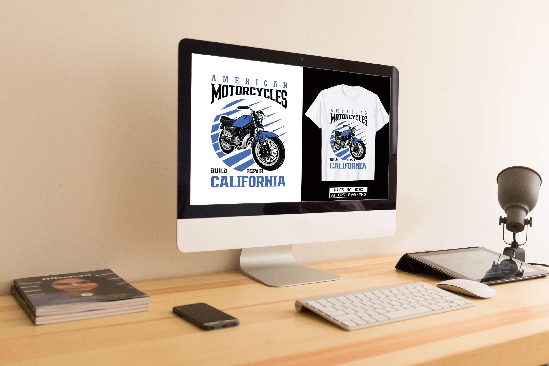 Motorcycle T-shirt Design Bundle by MasterBundles Desktop preview mockup image.