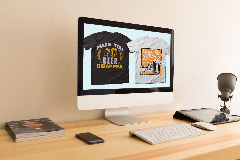 Trendy 20 Beer Quotes T-shirt Designs Bundle by MasterBundles Desktop preview mockup image.