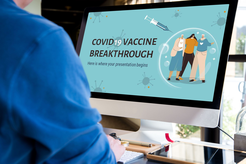 Free COVID-19 Vaccine Breakthrough Powerpoint template by MasterBundles desctop.