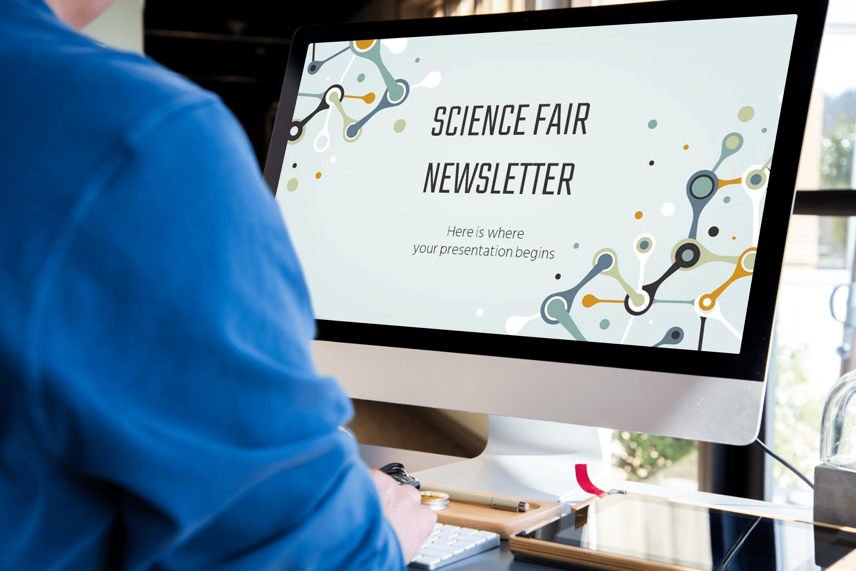 Free Science Fair Newsletter Powerpoint Template by MasterBundles desctop.